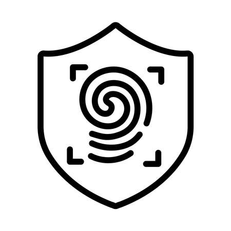 shield secure with fingerprint line style icon vector illustration design Stock fotó - 155369682
