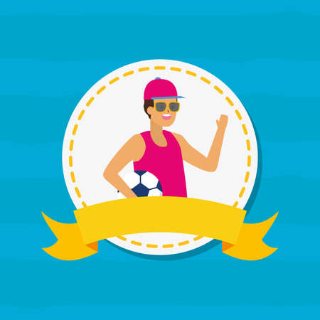 man with football ball happy youth day flat design vector illustration