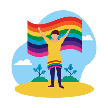 Man cartoon design, Lgtbiq march pride equality freedom love and community theme Vector illustration