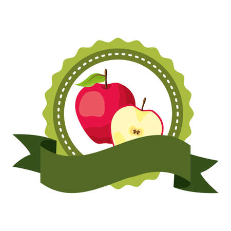 apple tropical fruits badge ribbon vector illustration