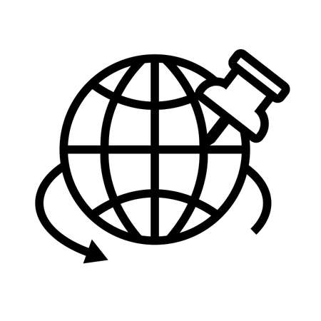 sphere with paper pin line style icon vector illustration design