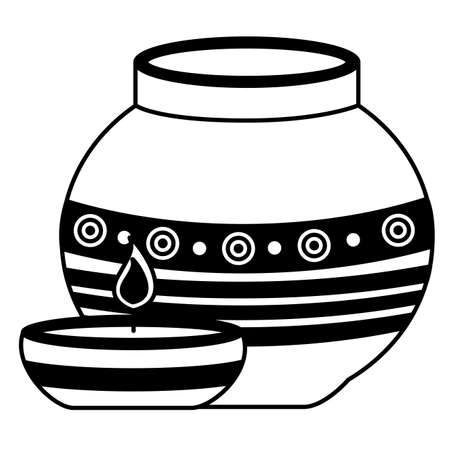 indian ceramic pot with candle flame vector illustration design