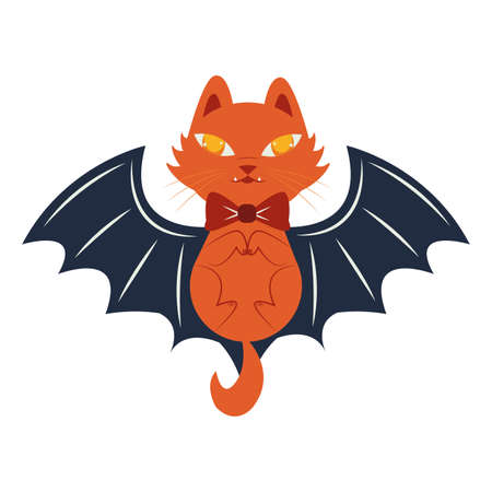 halloween cat mascot with bat wings vector illustration design  イラスト・ベクター素材