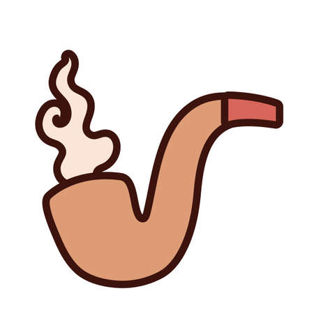 tobaco pipe vintage line and fill icon vector illustration