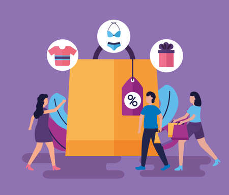 girls and boy shopping bag discount clothes vector illustration