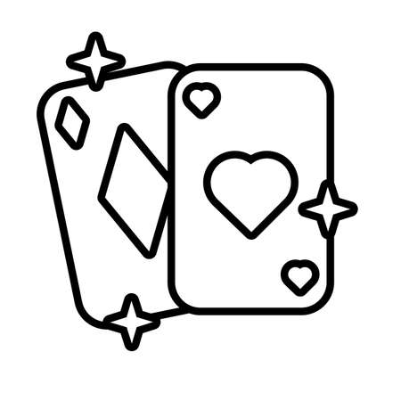 poker cards line style icon vector illustration design
