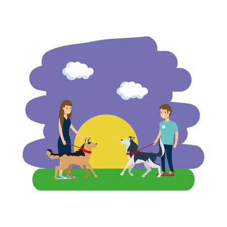 Park design, Landscape nature outdoor beautiful season spring and summer theme Vector illustration