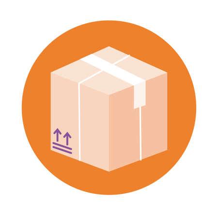 box delivery service block style vector illustration design