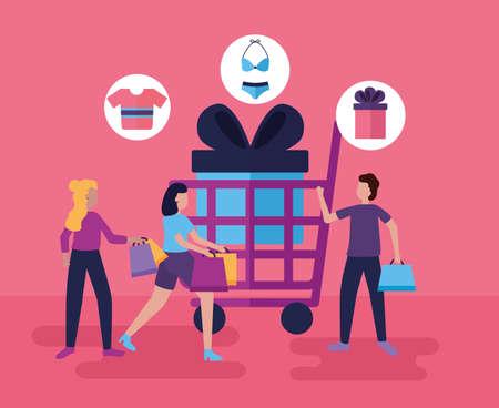 shopping cart women and boy carry bags vector illustration Vektorové ilustrace