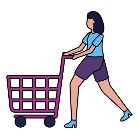 woman shopping cart commerce market vector illustration