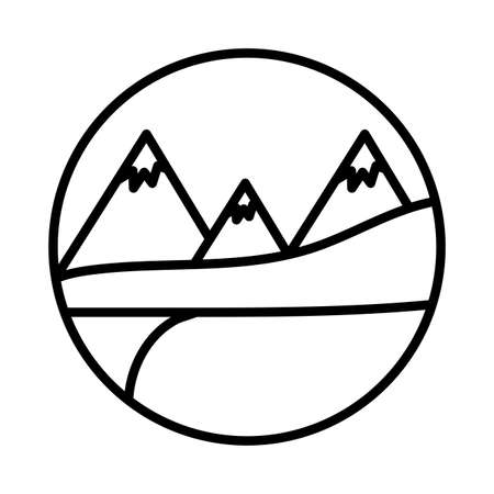 landscape with snow mountains scene line style icon vector illustration design