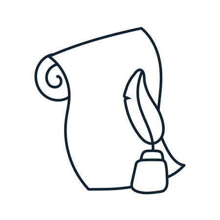 ink bottle and feather line style vector illustration design 版權商用圖片 - 155621530
