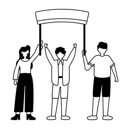 men and woman holding billboard with sticks vector illustration Иллюстрация