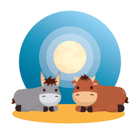 mule and ox manger characters vector illustration design