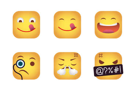 set of squares emoticons faces characters vector illustration design