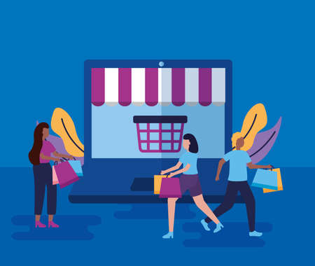 computer store online shopping girls carry bags vector illustration Vektorové ilustrace