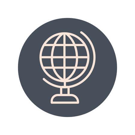 world planet block style icon vector illustration design
