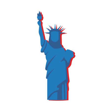 new york liberty statue flat style vector illustration design Ilustração