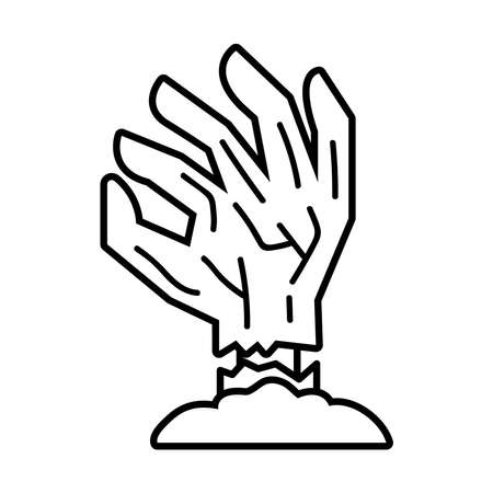 death hand line style icon vector illustration design