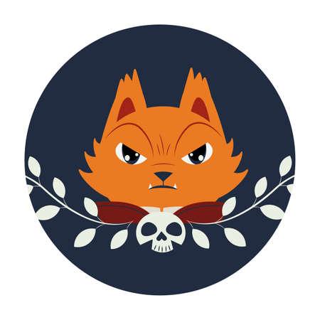 halloween cat head disguised of pumpkin character vector illustration design