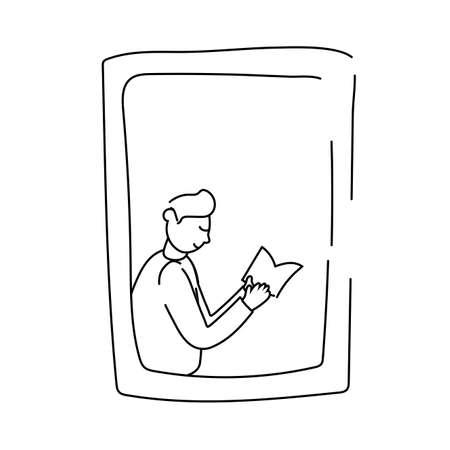 man reading book in apartment window for quarantine line style vector illustration design