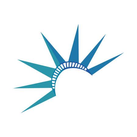 new york liberty statue crown flat detailed style vector illustration design Ilustração