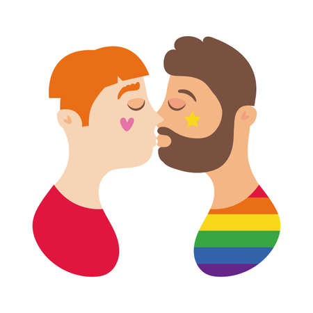 men kissing characters hand draw style vector illustration design