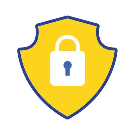 shield with padlock flat style vector illustration design