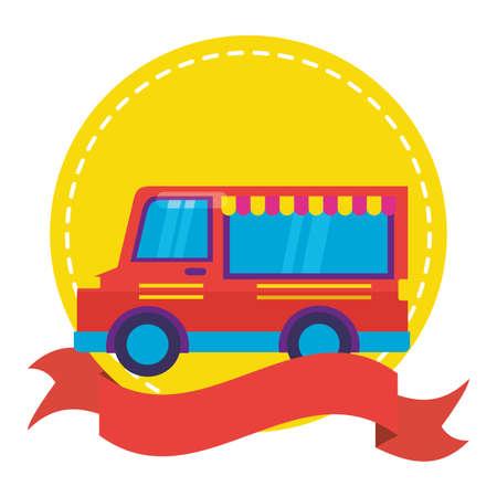 food truck on white background sticker ribbon vector illustration Ilustración de vector