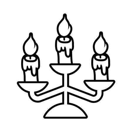 chandelier with candles line style icon vector illustration design