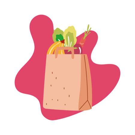 groceries in paper bag block style vector illustration design