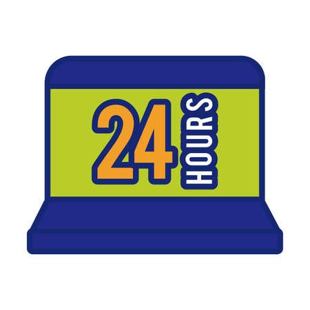 laptop with 24 hours line and fill style icon vector illustration design