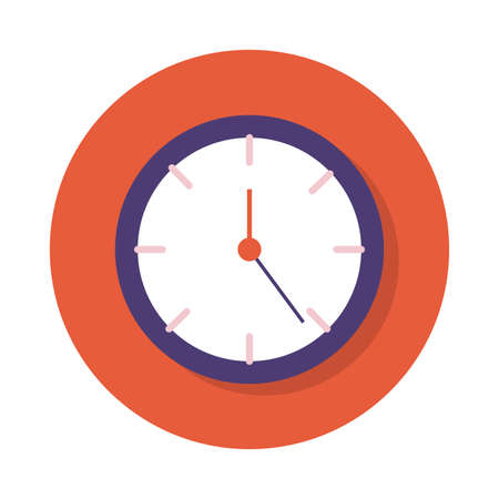 time clock block and flat style vector illustration design