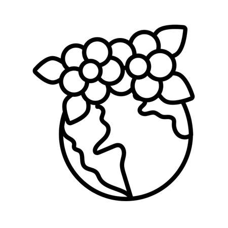 world planet earth with flowers line style vector illustration design