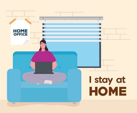 i stay at home, woman working in telework, home office concept vector illustration design