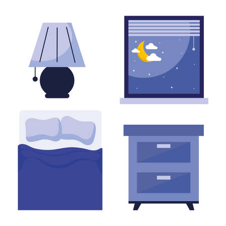 sleeping bed lamp window and furniture design, insomnia sleep and night theme Vector illustration