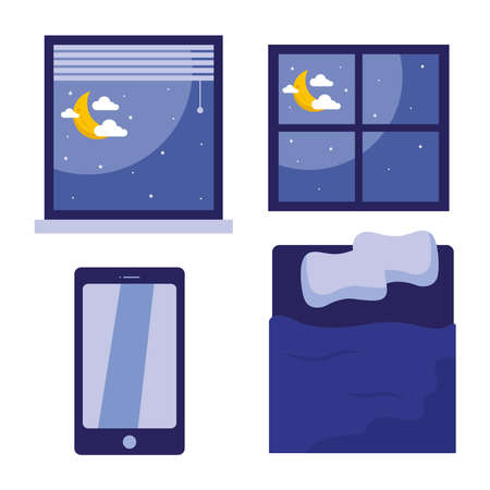 sleeping bed smartphone and windows with moons design, insomnia sleep and night theme Vector illustration
