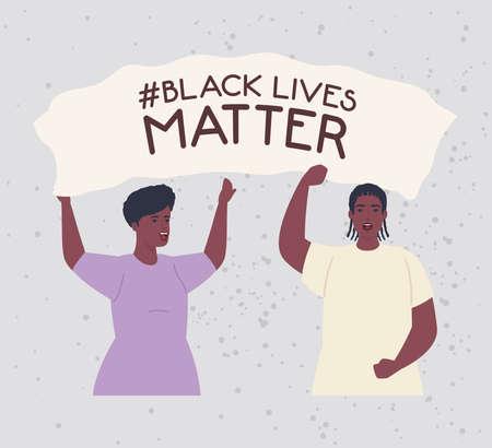 black lives matter, couple african with hands up, stop racism vector illustration design
