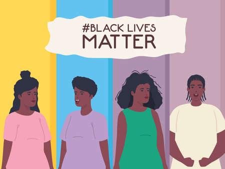 black lives matter, women and man african, stop racism vector illustration design