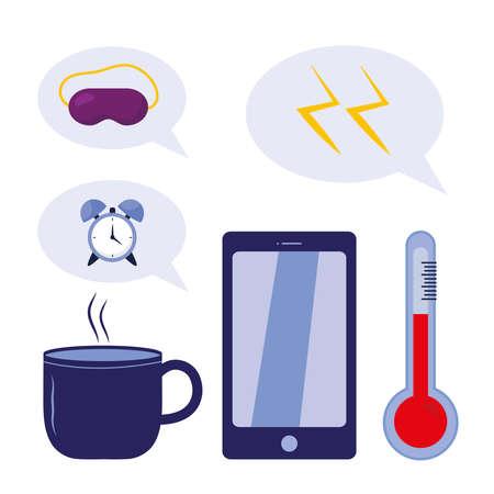 sleeping mug clock mask thunders smartphone and thermometer design, insomnia sleep and night theme Vector illustration