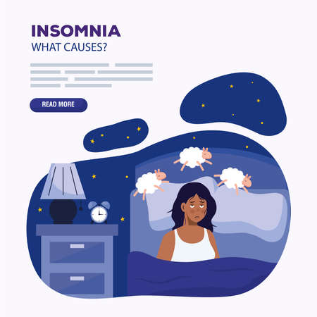 woman with insomnia and sheeps in bed design, sleep and night theme Vector illustration 版權商用圖片 - 155566432