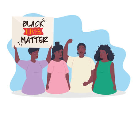 black lives matter, group people african protesting with label, stop racism vector illustration design