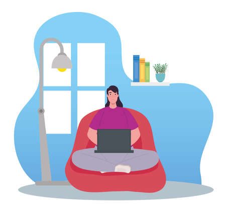 telework, woman using laptop, working from home vector illustration design