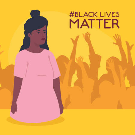 black lives matter, woman african with silhouette of protesting people, stop racism concept vector illustration design