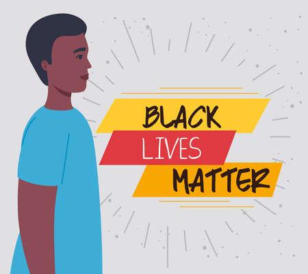 black lives matter, man african in profile, stop racism vector illustration design