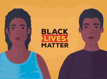 black lives matter, couple african, stop racism vector illustration design 矢量图像