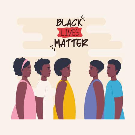 black lives matter, group african of profile, stop racism vector illustration design 矢量图像