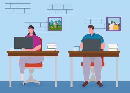 telework, young couple working from home, home office concept vector illustration design