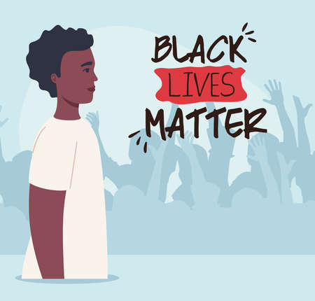 black lives matter, man african with silhouette of protesting people, stop racism vector illustration design