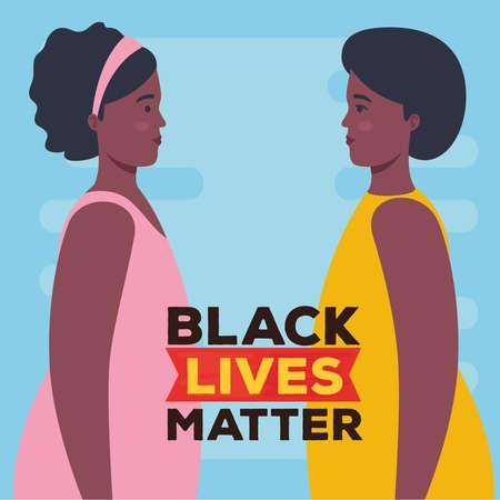 black lives matter, profile women african, stop racism vector illustration design 矢量图像